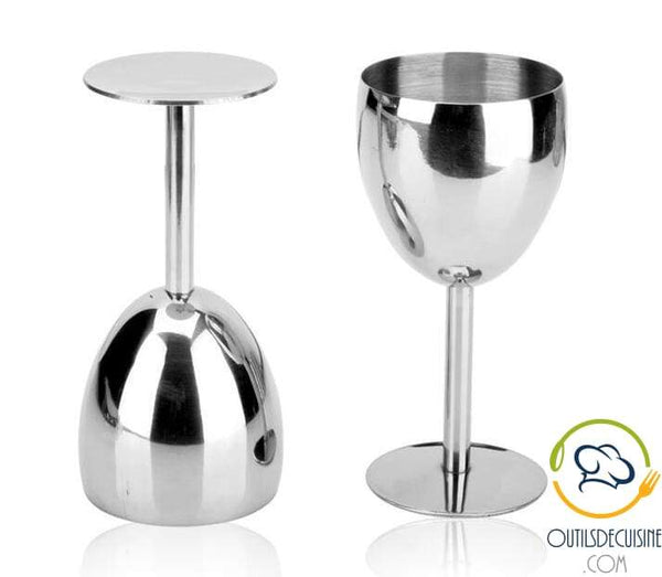Lot Of 2 Stainless Steel Wine Glasses