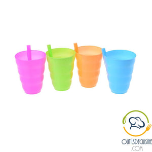 4 Reusable Plastic Tumbler Set With Integrated Straw For Children
