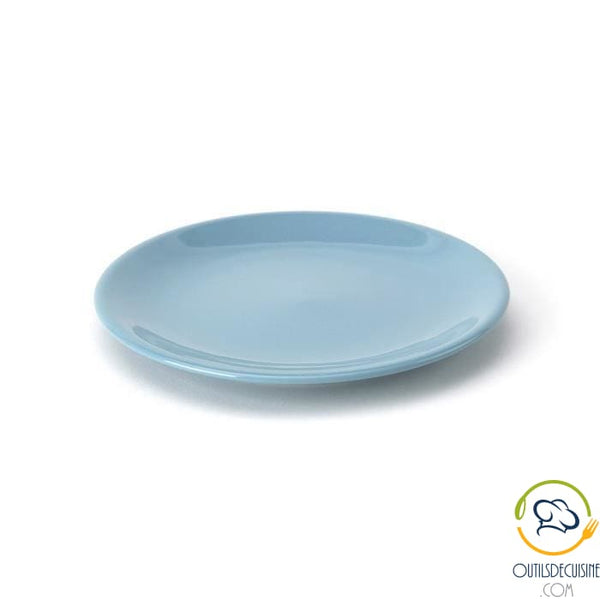 Lot Of 6 20cm Earthenware Dessert Plates - Blue Tableware Culinary Articles