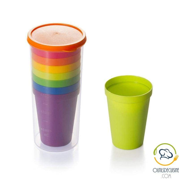 Lot Of 7 Reusable Plastic Rainbow Tumblers With Storage Carafe