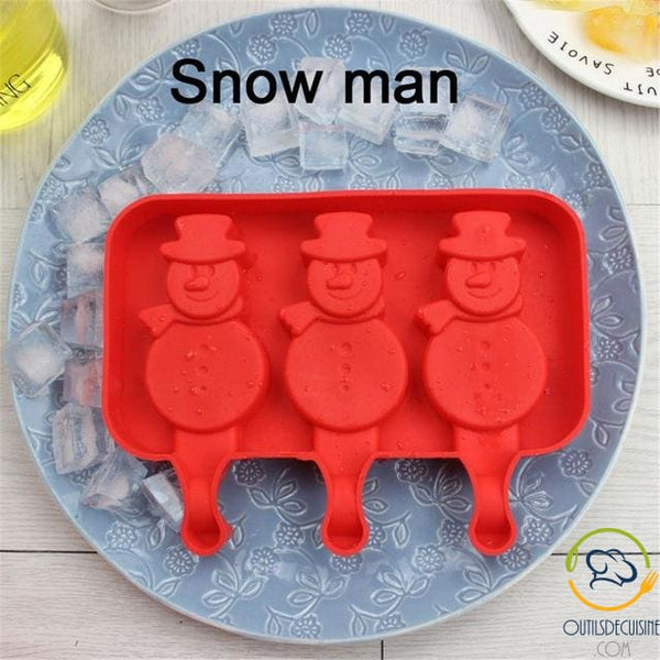 Silicone Ice Mold With 20 Snowman Sticks