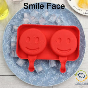 Silicone Ice Mold With 20 Smiley Face Sticks