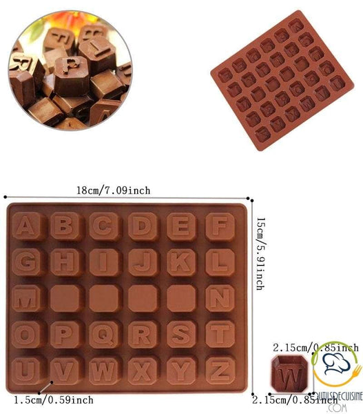 Silicone Chocolate Cube Mold - 26 Alphabet Letters Shown