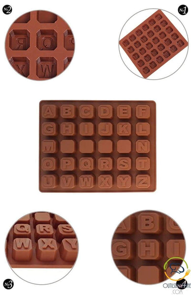 Silicone Chocolate Cube Mold - 26 Letters Of The Alphabet In Uppercase