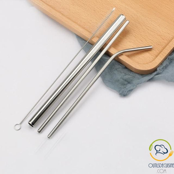Reusable Colored Straws In Stainless Steel 17 Silver
