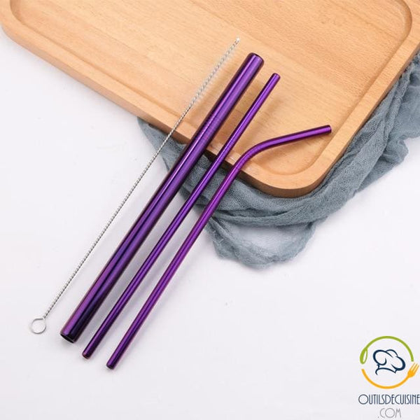 Reusable Colored Straws In Stainless 20 Purple