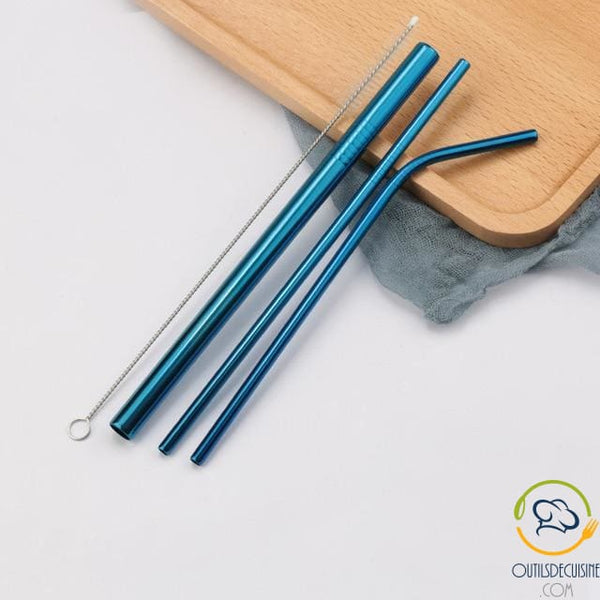 Reusable Colored Straws In Stainless 21 Blue