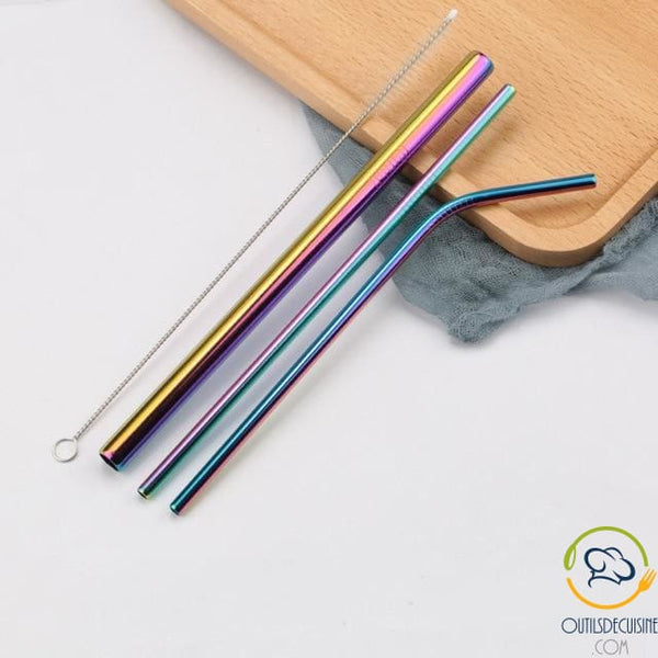 Reusable Colored Straws In Stainless 22 Arc Sky