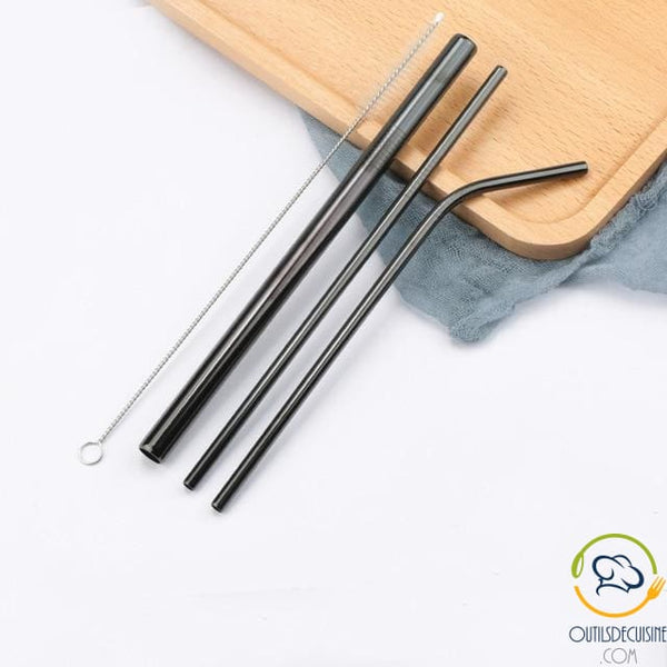 Reusable Colored Straws In Stainless 23 Black