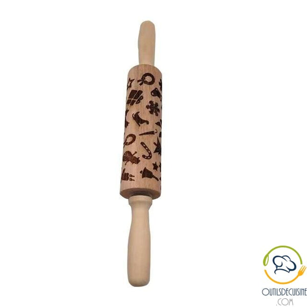 Roll Wooden Pastry With Pattern 35 Cm 6