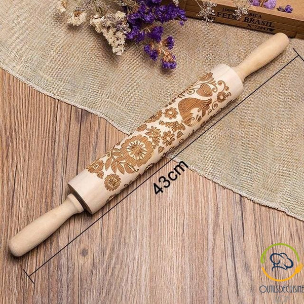 Roll Wooden Pastry With Pattern 43 Cm
