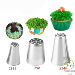 Set Of 3 Pastry Sockets - Decoration Cake Grass Icing Nozzles