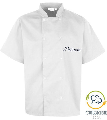 Unisex> Work Wear - White Custom Short Sleeve Cooker with Snap Button
