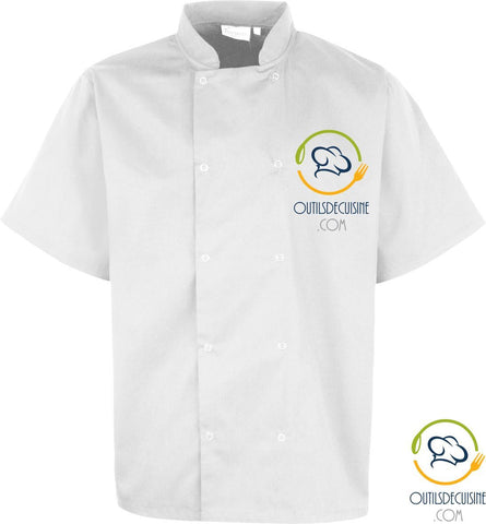 Unisex> Work Wear - Short Sleeve Kitchen Jacket with Snap Buttons