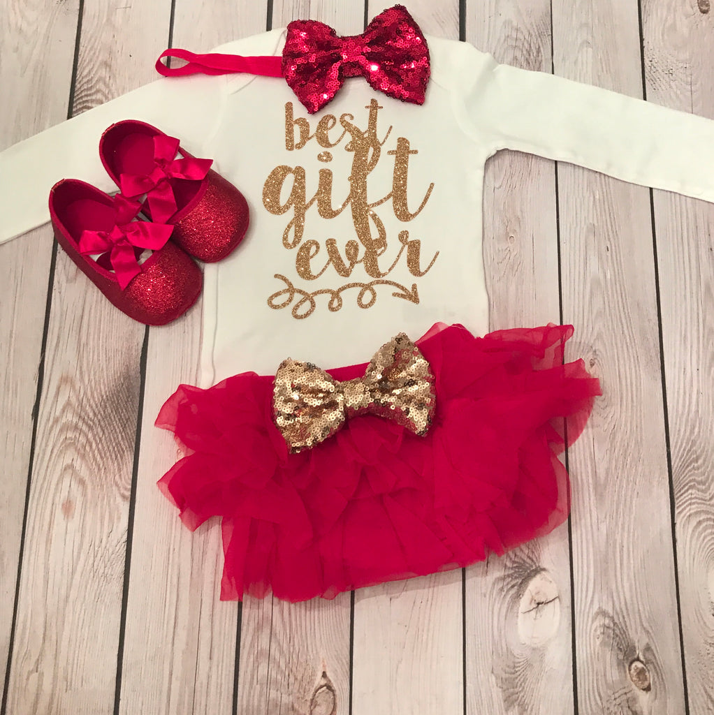 0993e124b Baby girl first Christmas outfit, baby girl clothing, first Christmas  outfit girl, baby ...