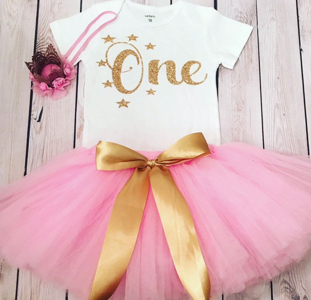 first birthday shirt pink tutu baby girl Twinkle twinkle little star outfit