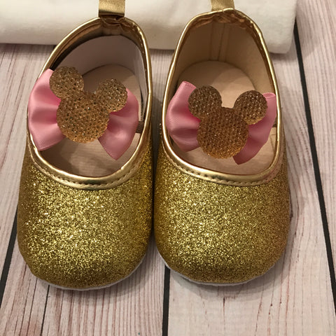 862a88477501b First birthday Minnie Mouse shoes, pink and gold glitter shoes ...