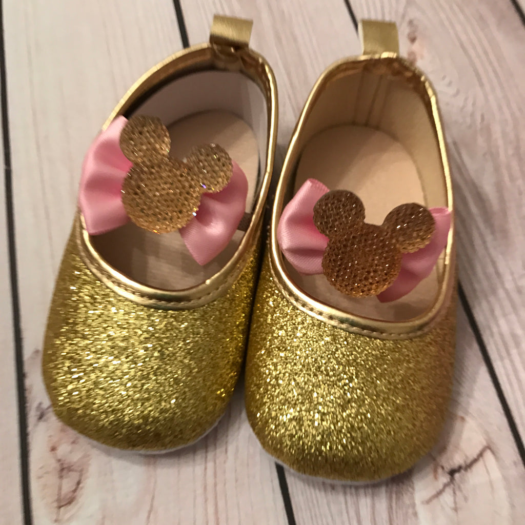First birthday Minnie Mouse shoes, pink
