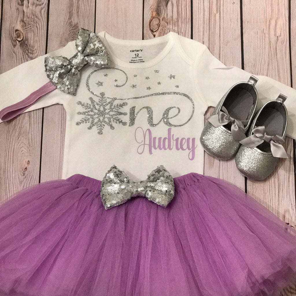 First Birthday Outfit Winter Onederland Baby Glitter Shoes