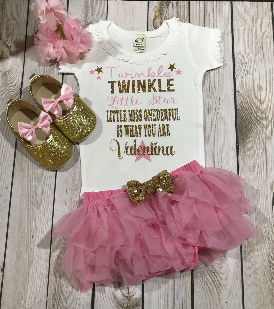 740e0f610 Twinkle twinkle little star shirt girl, gold glitter shoes baby girl, first  birthday outfit ...