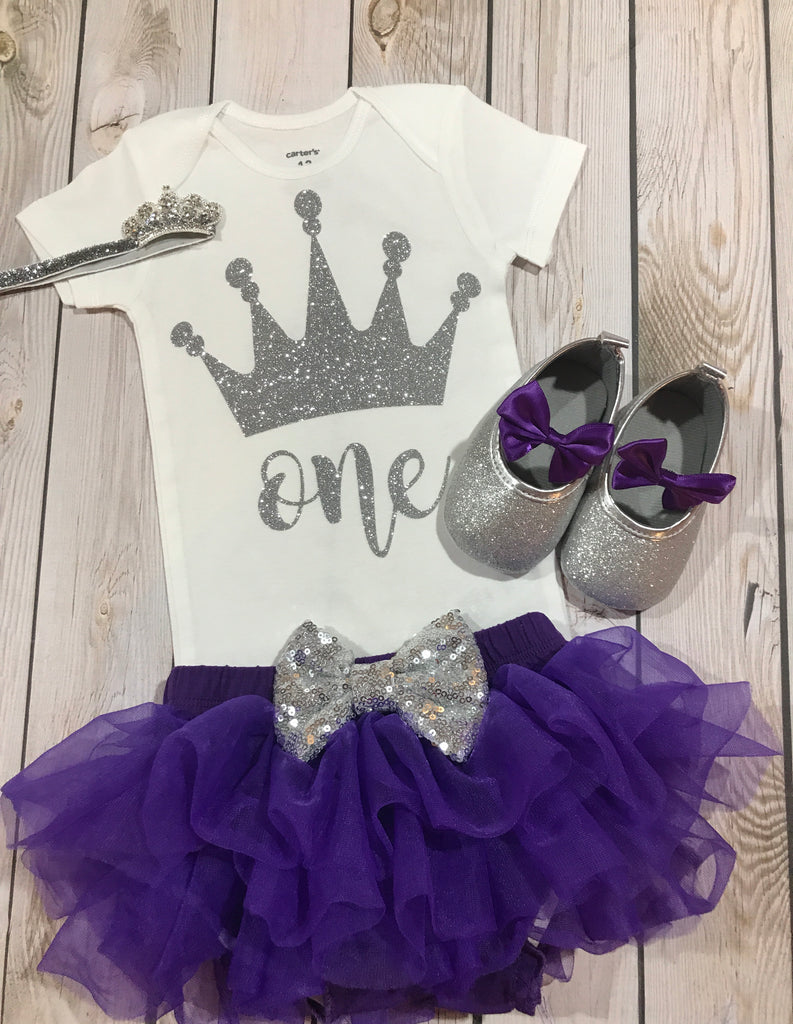 first birthday outfit girl purple and silver baby gold glitter