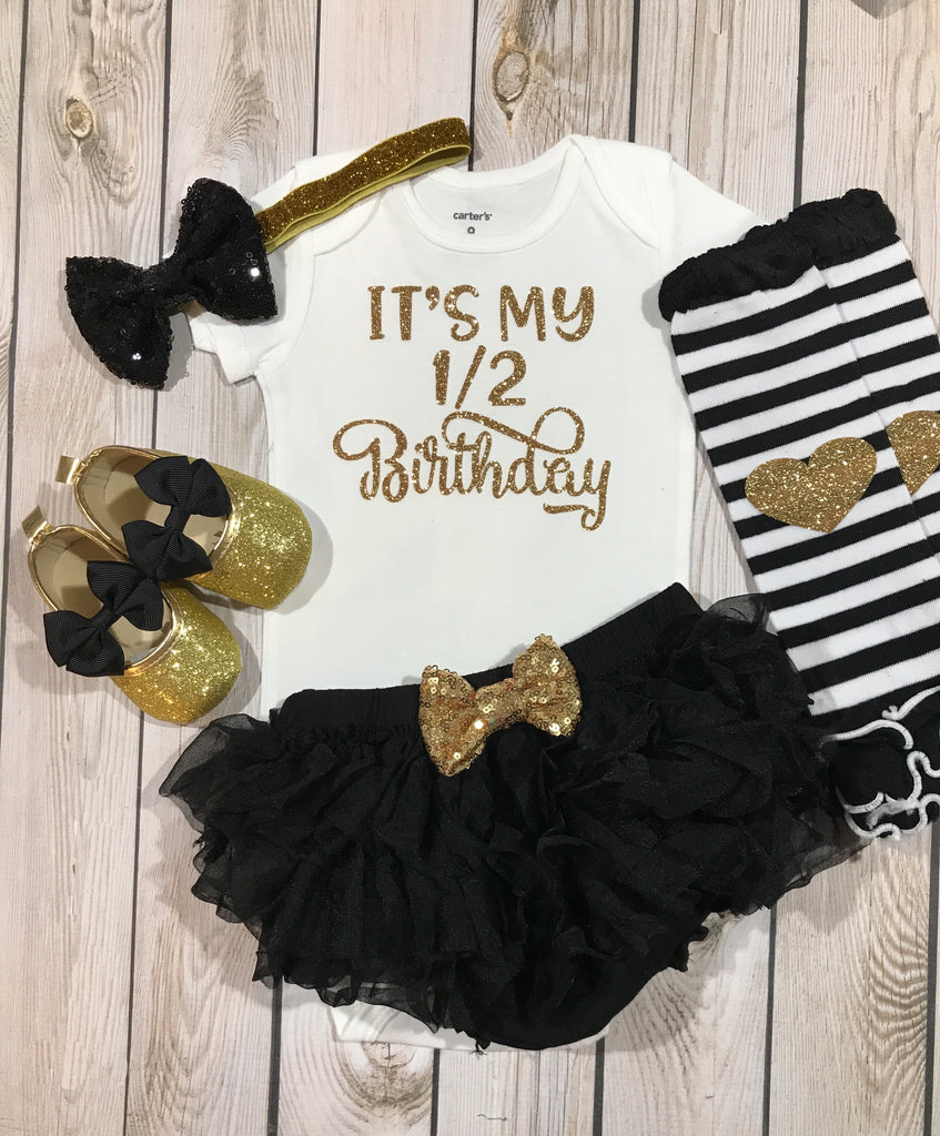 Half Birthday In Black And Gold 1 2 Girl Outfit