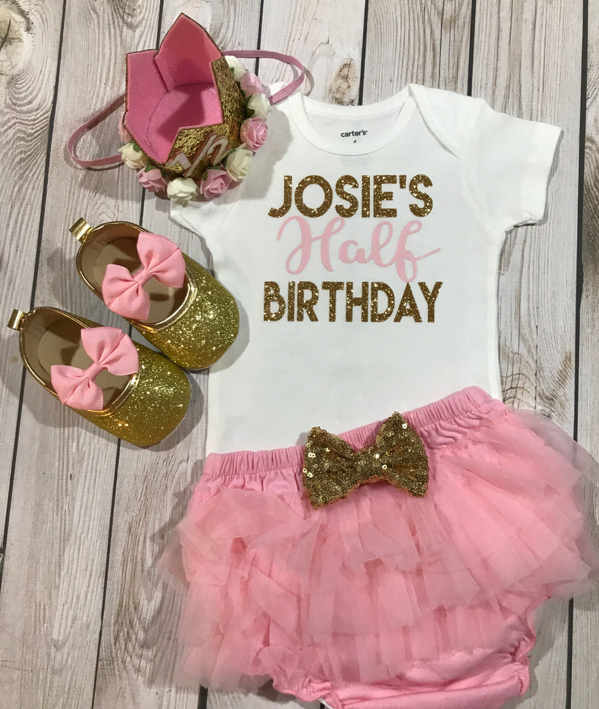 b9a314d4b ... 6 month birthday, 1/2 birthday girl outfit, 6 month crown, birthday ...