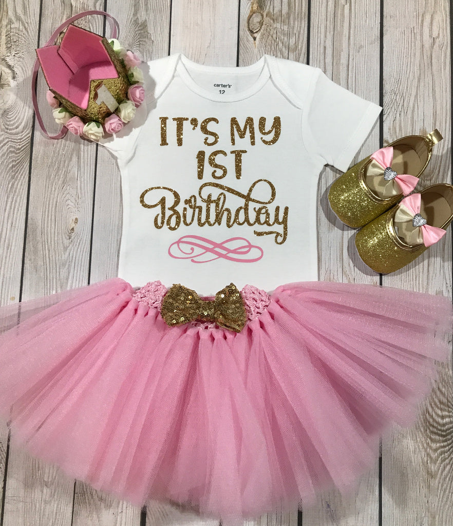 1st Birthday Outfit Girl Its My First Princess Pink Crown Headband