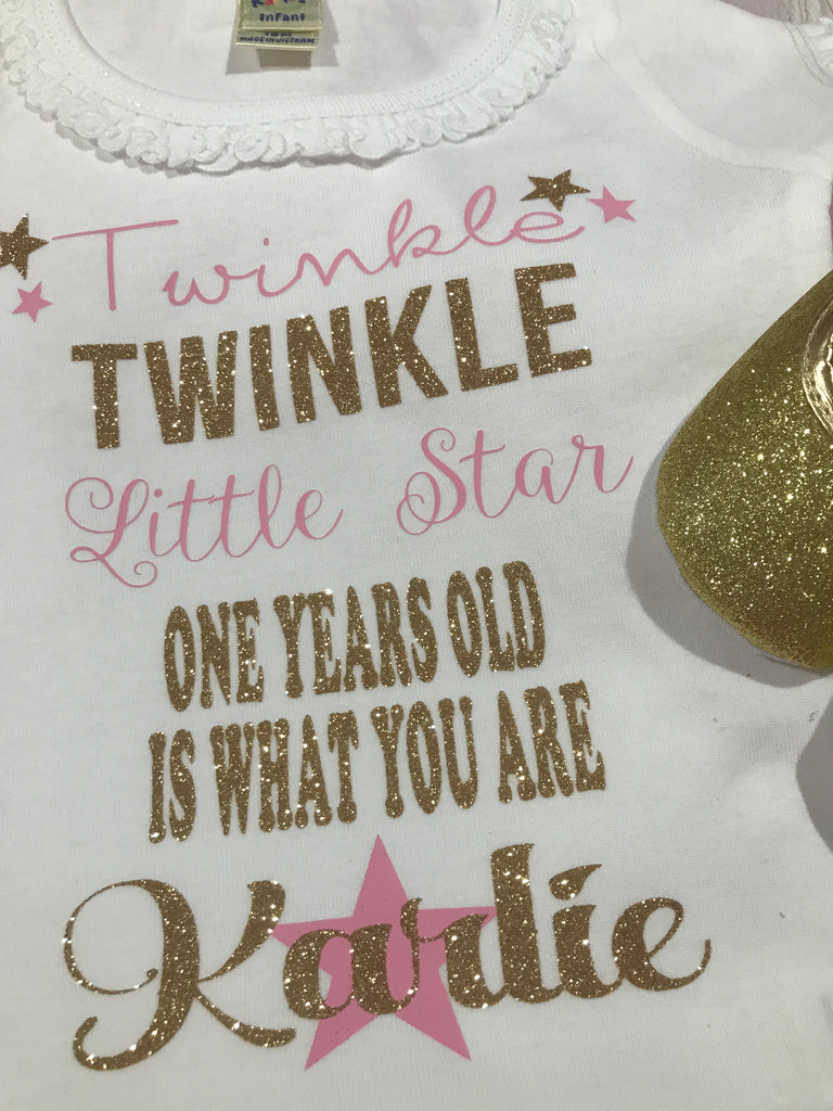 0e4268b634b40 First birthday Twinkle twinkle little star outfit girl, gold baby ...