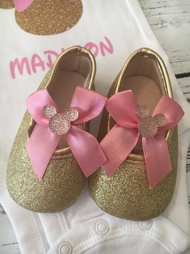 fb4f3f6a02cc8 1st birthday baby glitter shoes girl, Minnie Mouse shoes, baby girl shoes  gold and pink, 1st birthday shoes, baby girl glitter shoes, pink glitter ...