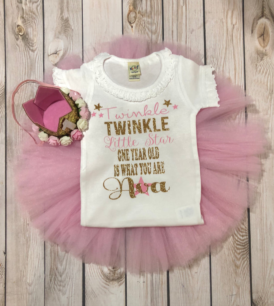 Twinkle Little Star Outfit First Birthday Shirt Girl Glitter Baby Shoes One