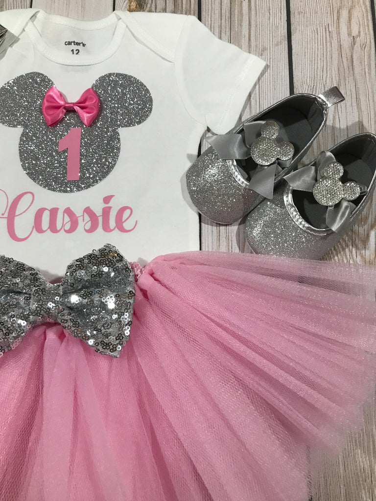 First Birthday Outfit Girl Silver Minnie Mouse Inspired Shirt Baby Clothing 1st