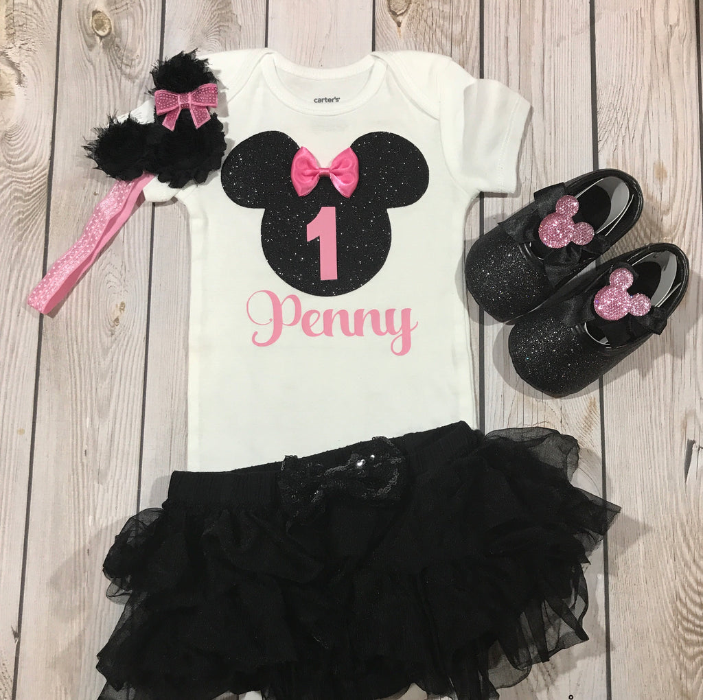 Minnie Mouse Birthday Outfit Girl First Mickey Baby Clothes 1st