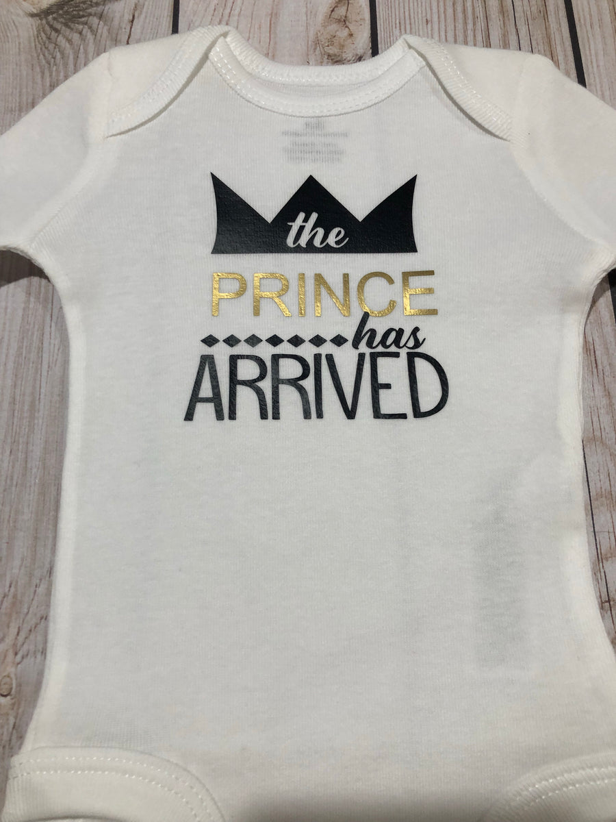 f1b36b9e0541 Baby boy the prince has arrive bodysuit, newborn baby boy coming home –  Melih's Boutique