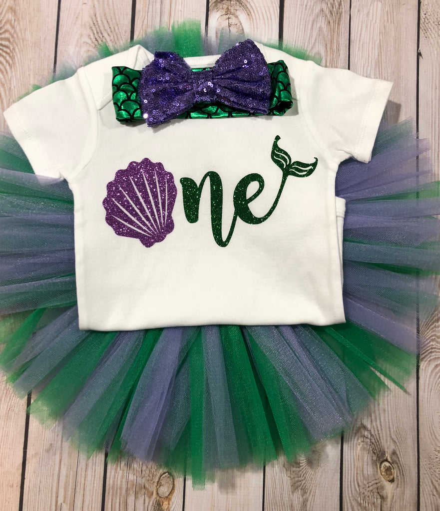 Mermaid First Birthday Shirt Under The Sea Outfit Green And Purple Tutu