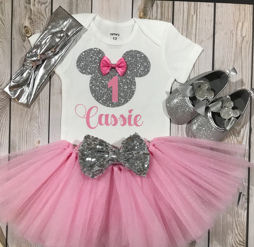 346ee68f77f9 First birthday outfit girl, silver Minnie Mouse inspired shirt, baby girl  clothing, 1st ...