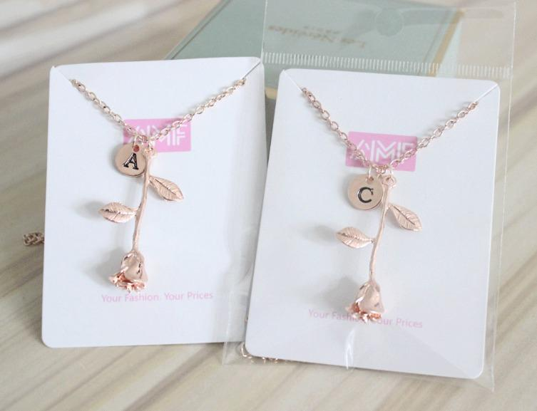 Rose pendant initial necklace a m afford my fashion rose pendant initial necklace a m aloadofball Choice Image