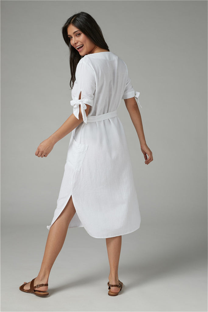 Button Up Bow Tide White Casual Dress Riviera Coco
