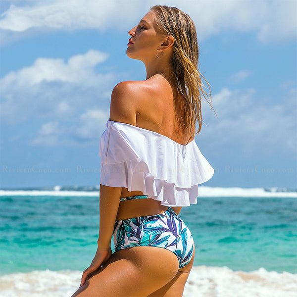 Casablanca | High Waist Strappy Tropical Print Off Shoulder Flounces Bikini