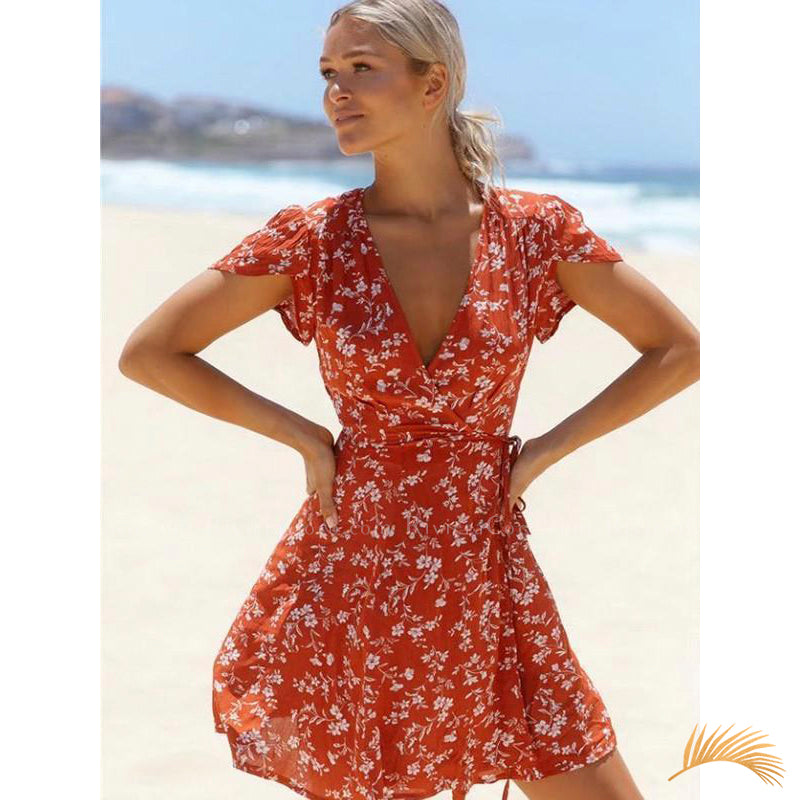 Floral Side Lace-Up Mini Floral Dress Riviera Coco