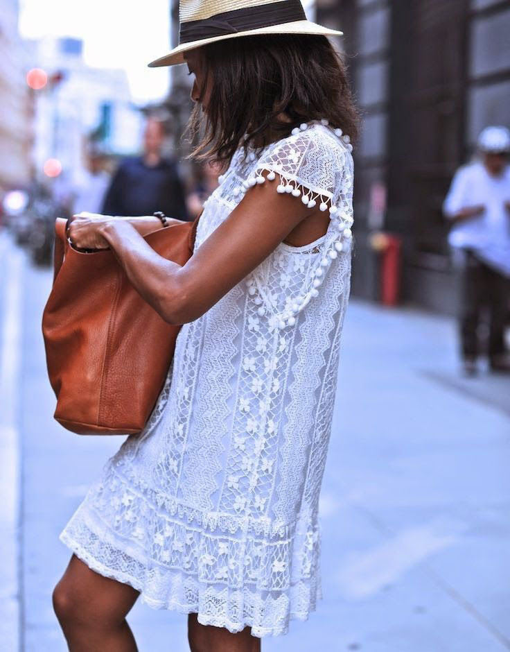 White lace dress with pom poms Riviera Coco
