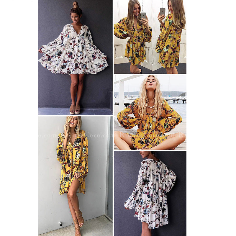 Hollow Out Boho Loose Mini Floral Dress White Yellow