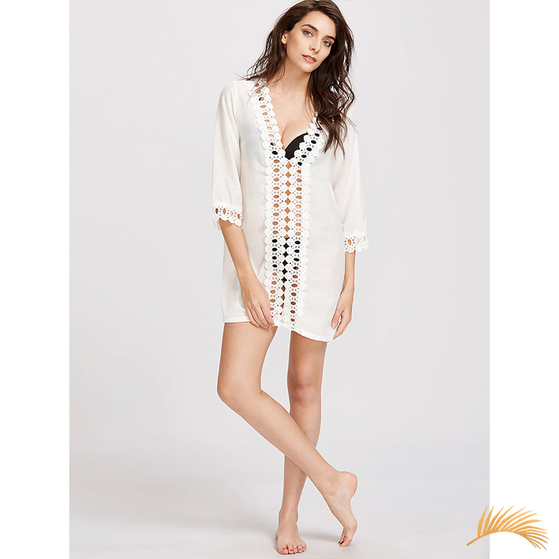 Long Sleeve White Crochet Tunic Riviera Coco