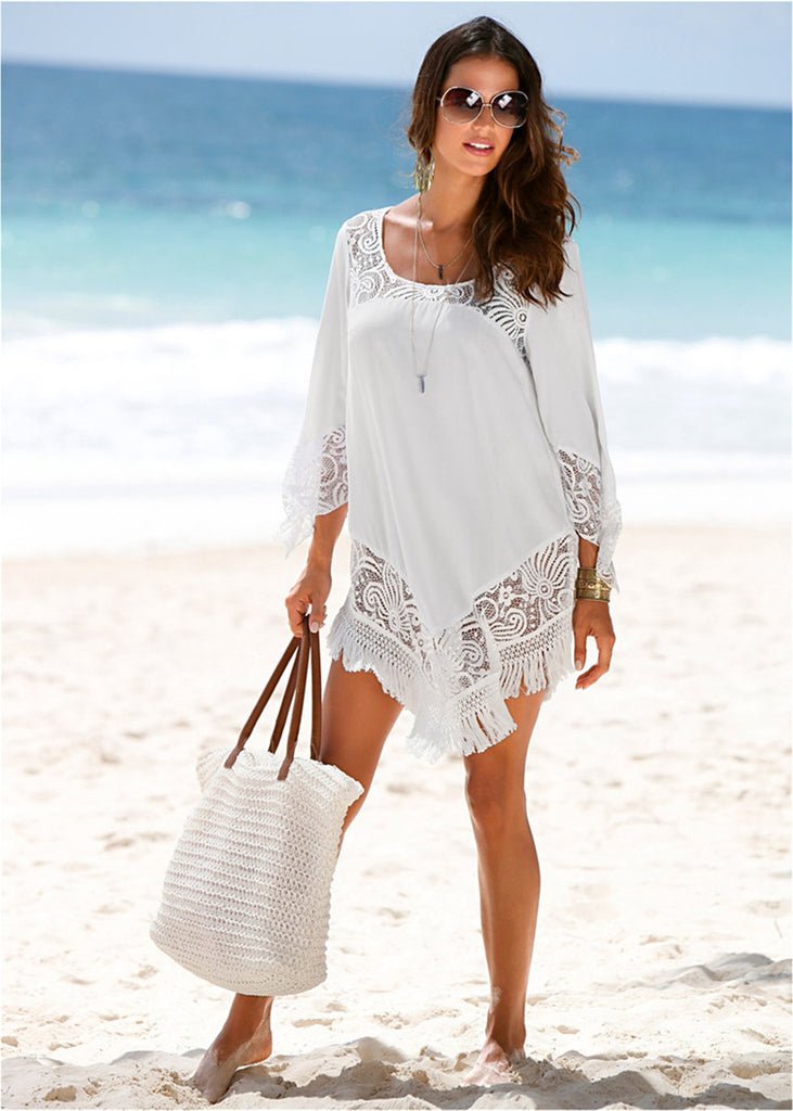 Long Sleeve Lace White Crochet Tunic Riviera Coco