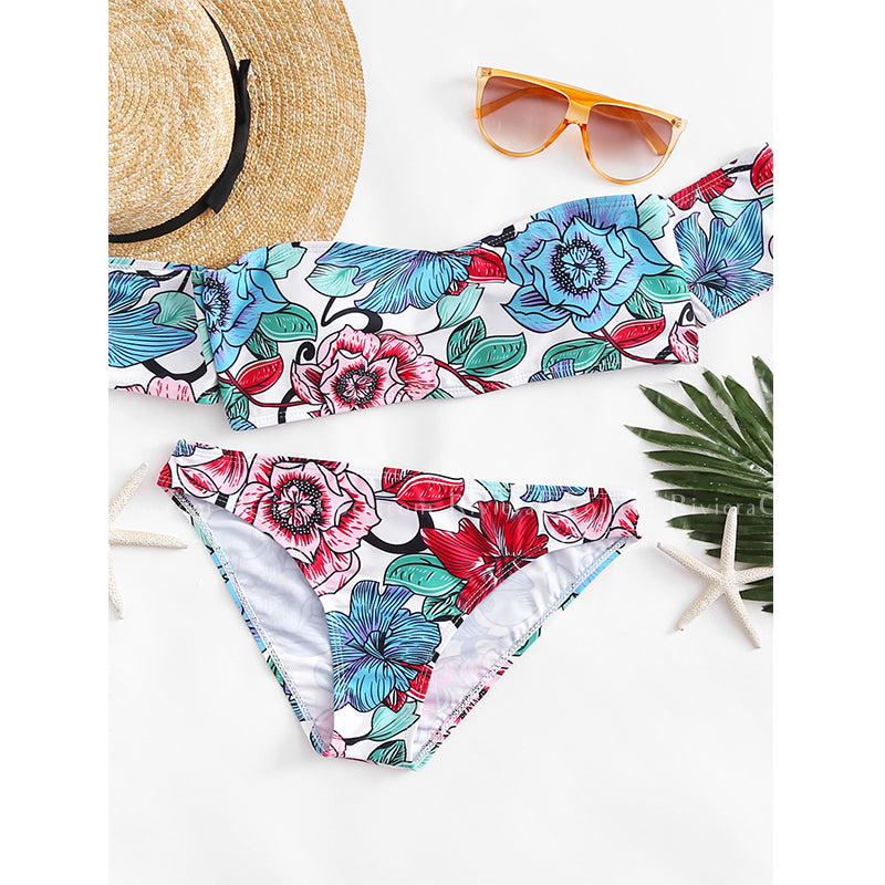 Myrtle Beach | Floral Off Shoulder Bikini With Cute Sleeves