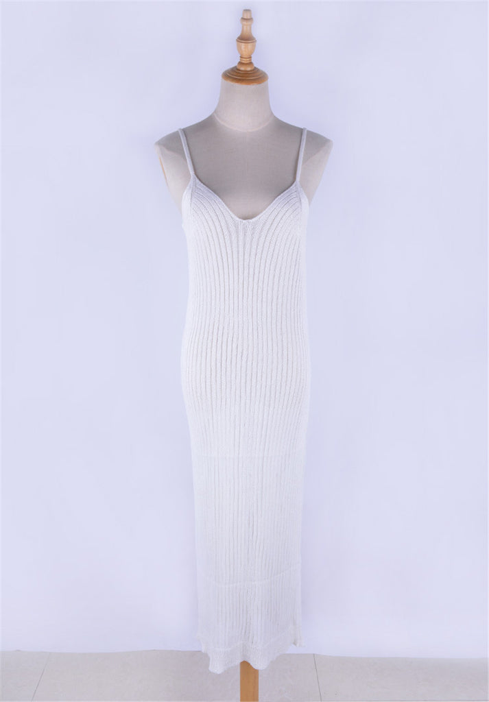 Ribbed Knitted Bodycon White Casual Dress Riviera Coco