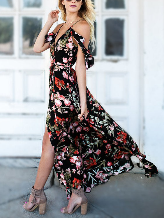 Floral Summer Dress Tulips Pink Black Riviera Coco