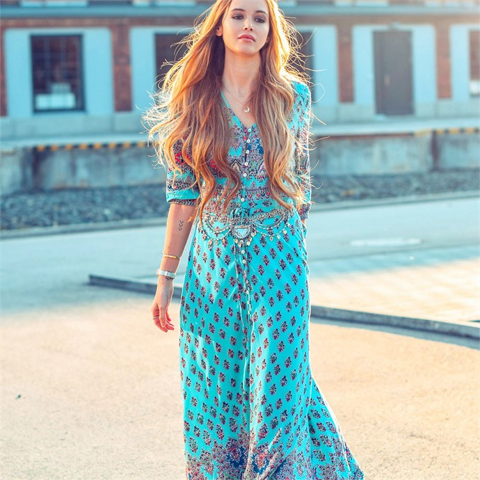 Turquoise Bohemian Summer Dress Riviera Coco