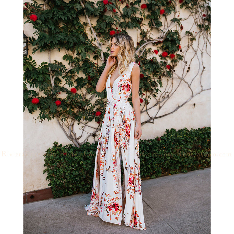 Wrap Tie Floral Maxi Dress White Pink Riviera Coco