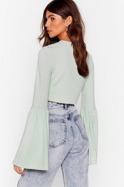 Mint Flare Case Scenario Crop Top with High-Waisted Distressed Jeans